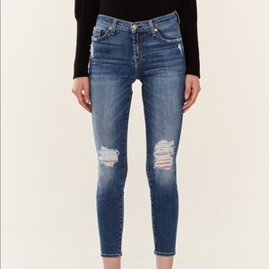 NEW 7 for all mankind distressed skinny jeans